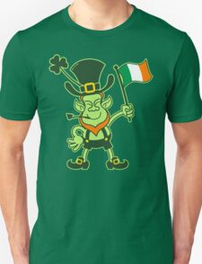 Proud Leprechaun Waving an Irish Flag T-Shirt