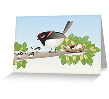 Beautiful Mother & Baby Birds Scene Greeting Card