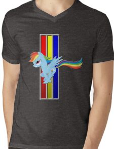Mustang Rainbow Dash (Logo) Mens V-Neck T-Shirt