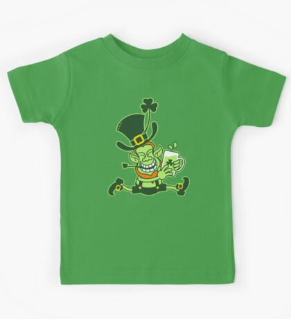 Green Leprechaun Running while Holding a Glass of Beer Kids Tee