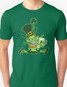 Green Leprechaun Running while Holding a Glass of Beer T-Shirt