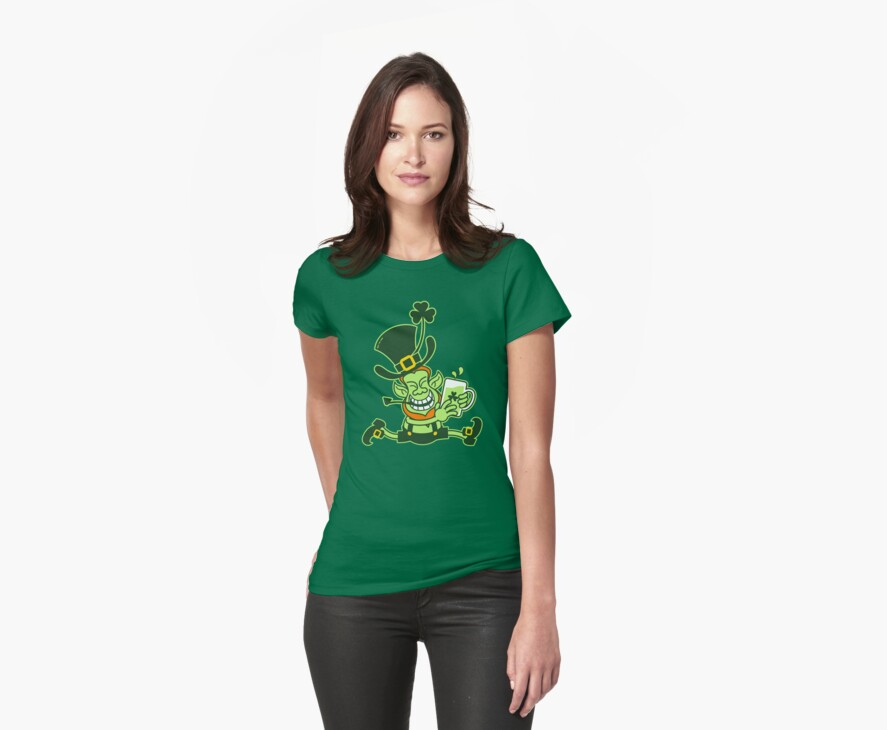 Green Leprechaun Running while Holding a Glass of Beer by Zoo-co