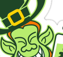 Green Leprechaun Running while Holding a Glass of Beer Sticker
