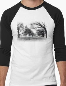 """Foggy Skate Park"" Men's Baseball ¾ T-Shirt"