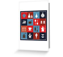 Household items on a colorful background Greeting Card