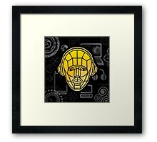 Man and communications on a black background Framed Print