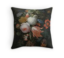 Abraham Mignon A Hanging Bouquet of Flowers probably 1665 Throw Pillow