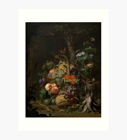 Abraham Mignon Still Life with Fruit, Fish, and a Nest c. 1675 Art Print