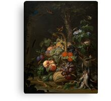 Abraham Mignon Still Life with Fruit, Fish, and a Nest c. 1675 Canvas Print