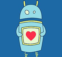 Blue Cute Clumsy Robot With Heart by Boriana Giormova