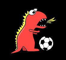 Black Funny Cartoon Dinosaur Soccer by Boriana Giormova