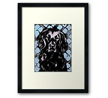 Black Lab Beauty Graphic ~ black, blue, lavender Framed Print