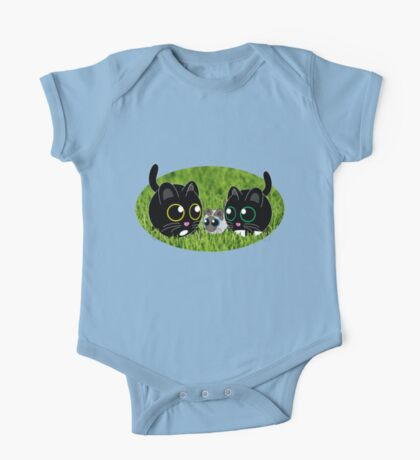 Kitty Cats in the Grass One Piece - Short Sleeve