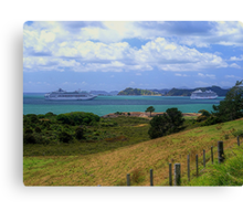 Sea Princess and Marina at anchor, Bay of Islands, New Zealand......! Canvas Print