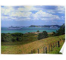 Sea Princess and Marina at anchor, Bay of Islands, New Zealand......! Poster