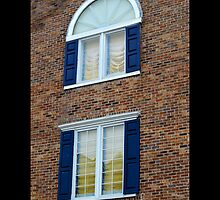 Red Brick Building With Blue Exterior Shutters Windows - Port Jefferson, New York  by © Sophie W. Smith