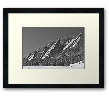 Snow Powder Dusted Flatirons Boulder CO BW Framed Print