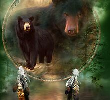 Dream Catcher - Spirit Of The Black Bear by Carol  Cavalaris