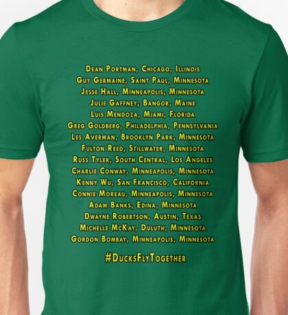 Mighty Ducks D2 Roster Unisex T-Shirt