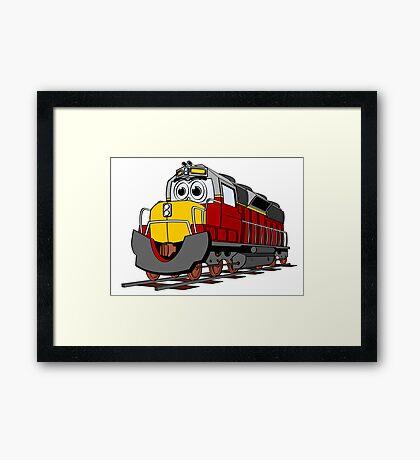 Burgundy Train Engine Cartoon Framed Print