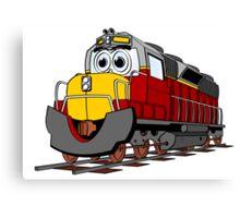 Burgundy Train Engine Cartoon Canvas Print