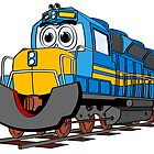 Blue Train Engine Cartoon by Graphxpro