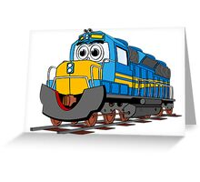 Blue Train Engine Cartoon Greeting Card