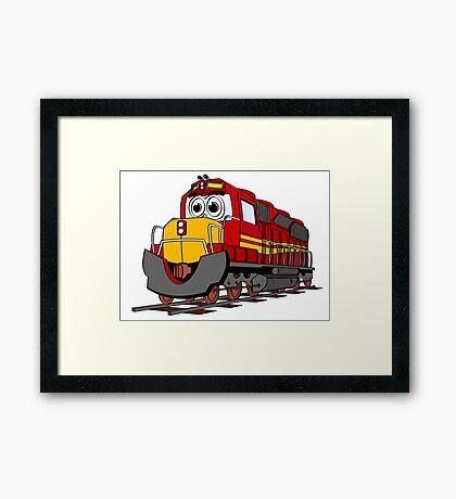 Red Train Engine Cartoon Framed Print