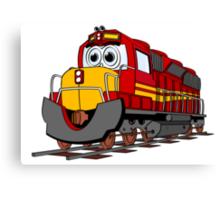 Red Train Engine Cartoon Canvas Print