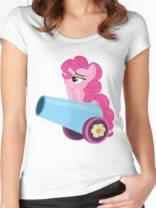 Pinkie Pie and party cannon. Women's Fitted Scoop T-Shirt