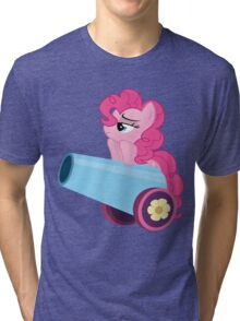Pinkie Pie and party cannon. Tri-blend T-Shirt