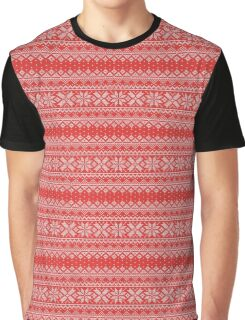 Faux Christmas Sweater - Red Graphic T-Shirt