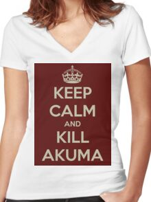 Keep Calm and Kill Akuma Women's Fitted V-Neck T-Shirt