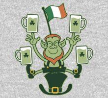 Leprechaun Juggling Beers and Irish Flag One Piece - Long Sleeve
