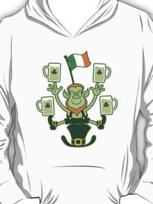 Leprechaun Juggling Beers and Irish Flag T-Shirt