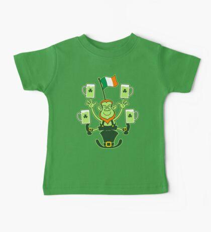 Leprechaun Juggling Beers and Irish Flag Baby Tee