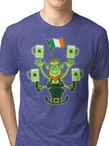 Leprechaun Juggling Beers and Irish Flag Tri-blend T-Shirt