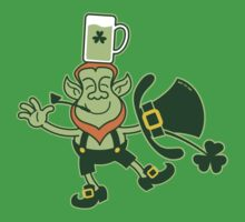 Leprechaun Balancing a Glass of Beer on his Head One Piece - Short Sleeve
