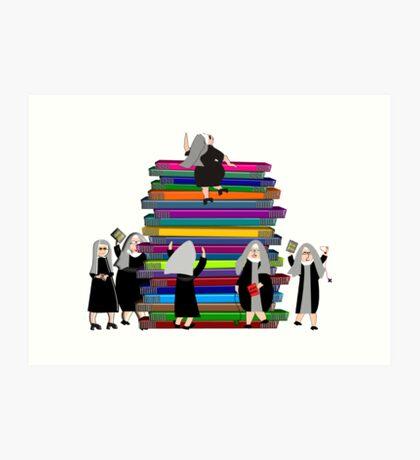 Catholic Nuns and Books Art Print