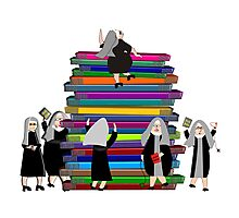 Catholic Nuns and Books Photographic Print