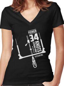 Power 34 Knots Kitesurfing Women's Fitted V-Neck T-Shirt