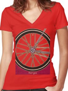 Single Speed Bicycle Women's Fitted V-Neck T-Shirt