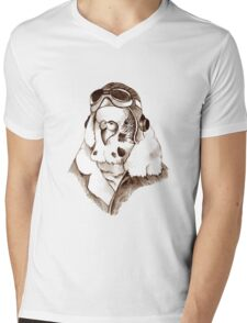 Budgie Pilot Mens V-Neck T-Shirt