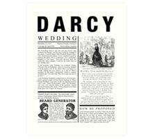 Pride & Prejudice Darcy Announcement Art Print