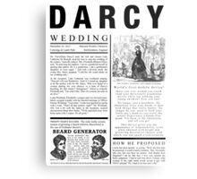 Pride & Prejudice Darcy Announcement Metal Print