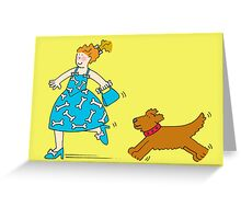 Woman and dog running. Greeting Card