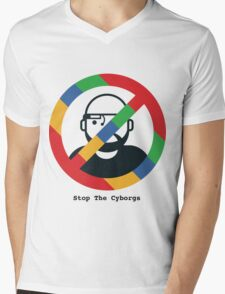 Support The Humans - Stop The Cyborgs Mens V-Neck T-Shirt