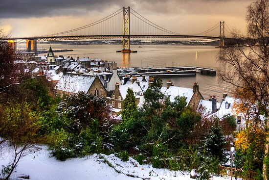 Queensferry Harbour and Road Bridge by Tom Gomez