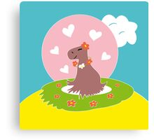 Capybara in Love Canvas Print