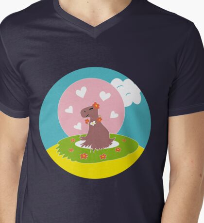 Capybara in Love Mens V-Neck T-Shirt